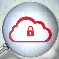 47011914 - cloud networking concept: magnifying optical glass with cloud with padlock icon on digital background